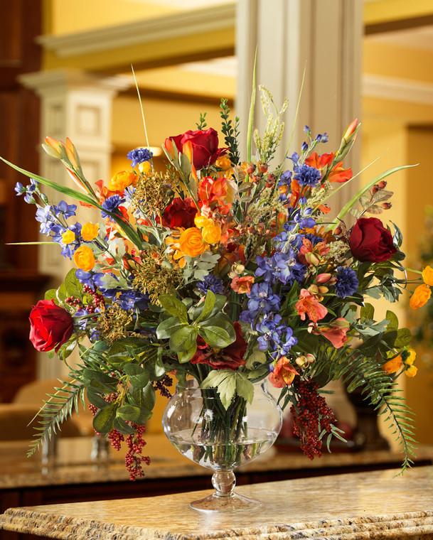 """25"""" glorious garden silk flower centerpiece arranged in glass vase"""