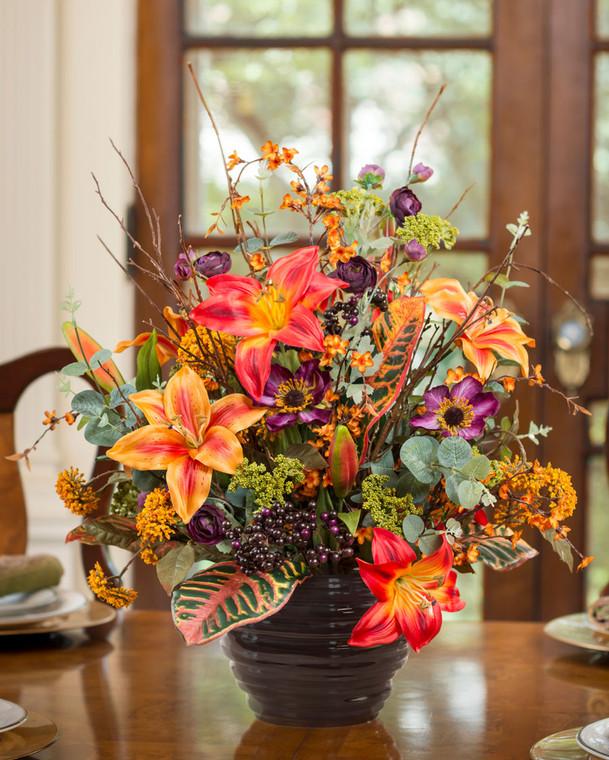 Lily, Croton & Berries Silk Flower Centerpiece
