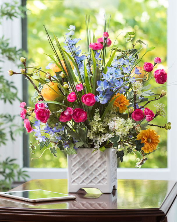 Larkspur, Ranunculus & Rose Silk Flower Arrangement