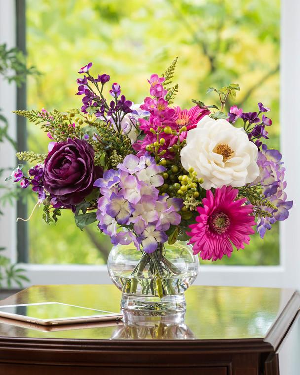 Gerbera, Hydrangea & Rose Silk Flower Arrangement