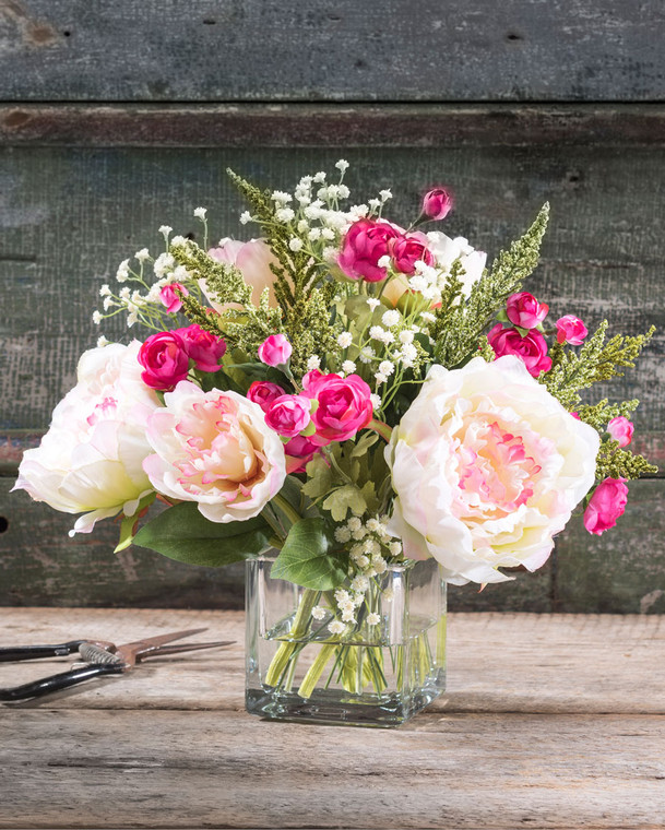 Peony & Ranunculus Silk Flower Arrangement