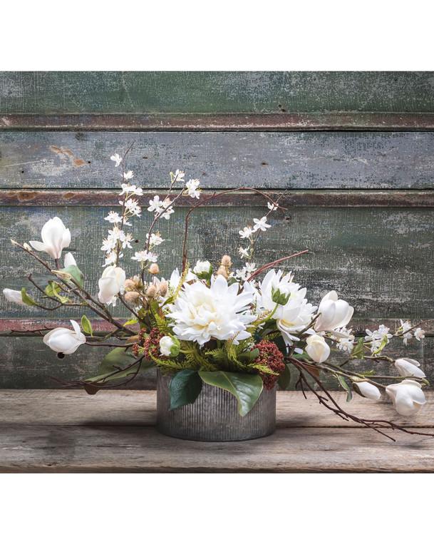 Magnolia & Dahlia Silk Flower Centerpiece