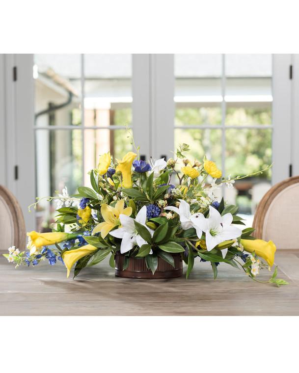 Lilies & Delphinium Silk Flower Centerpiece