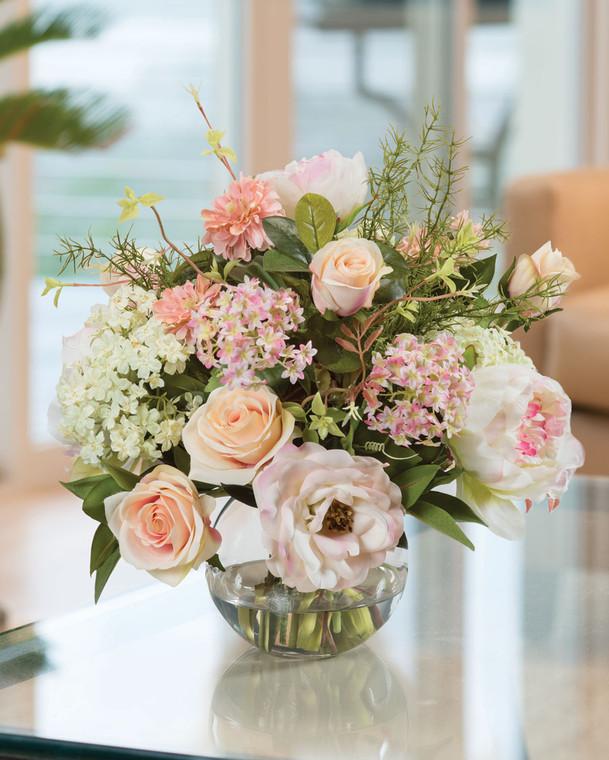 Peony, Rose & Snowball Hydrangea<br>Silk Flower Centerpiece
