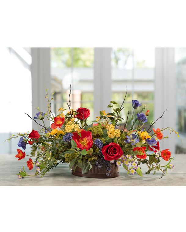 Poppy, Rose & Lilac Silk Flower Centerpiece