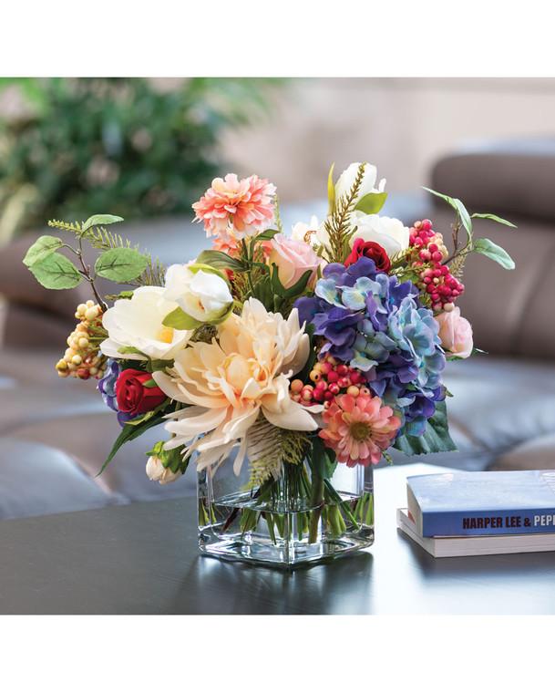 Dahlia, Hydrangea & Berries Centerpiece