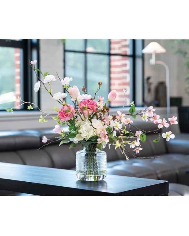 Hydrangea & Blossom Branches Silk Flower Arrangement