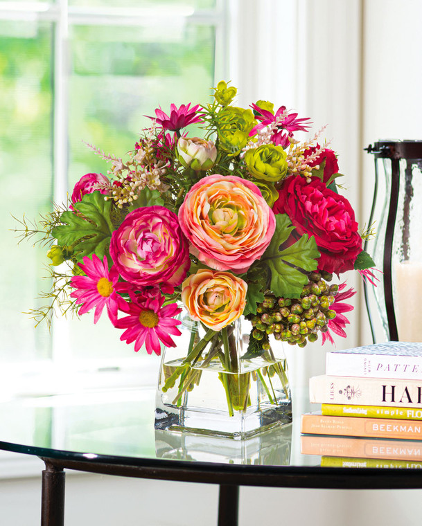 Cabbage Rose, Daisy & Ranunculus<br>Faux Flower Bouquet