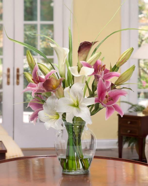 "Calla lily & Rubrum Lily Silk Flower Bouquet romantic silk centerpiece set in 7"" tall glass vase"
