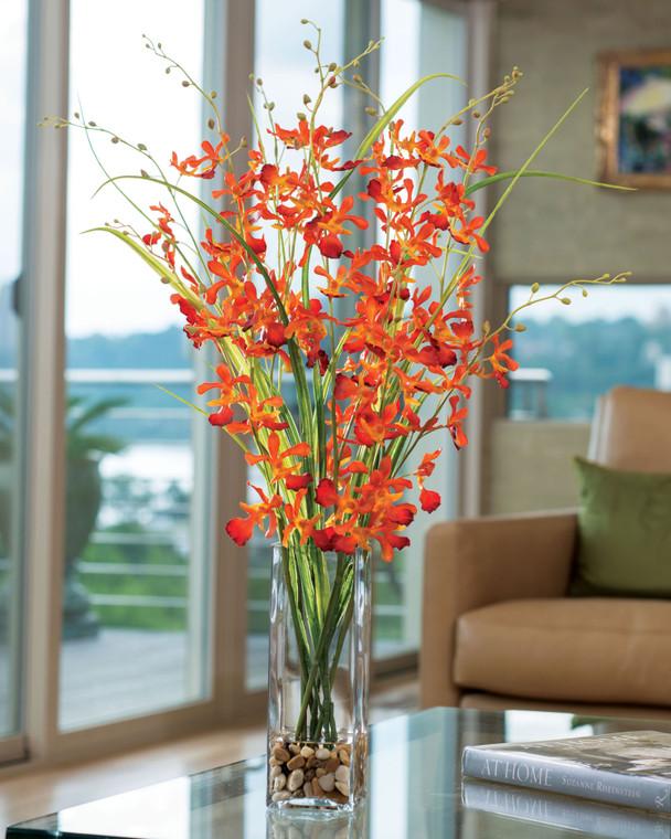 Dancing Orchid & Grass Silk Flower Arrangement