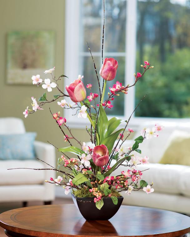 Cherry Blossom, Dogwood & Tulip Silk Flower Arrangement