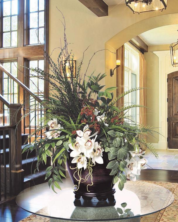 Atrium Orchid Planter<br>Artificial Floral Arrangement