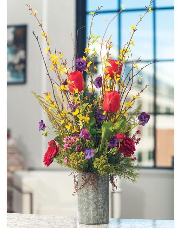 Happy Garden Silk Flower Arrangement