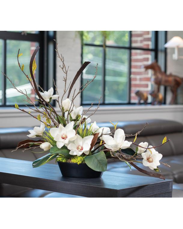 Tree Magnolia & Branches Faux Flower Arrangement
