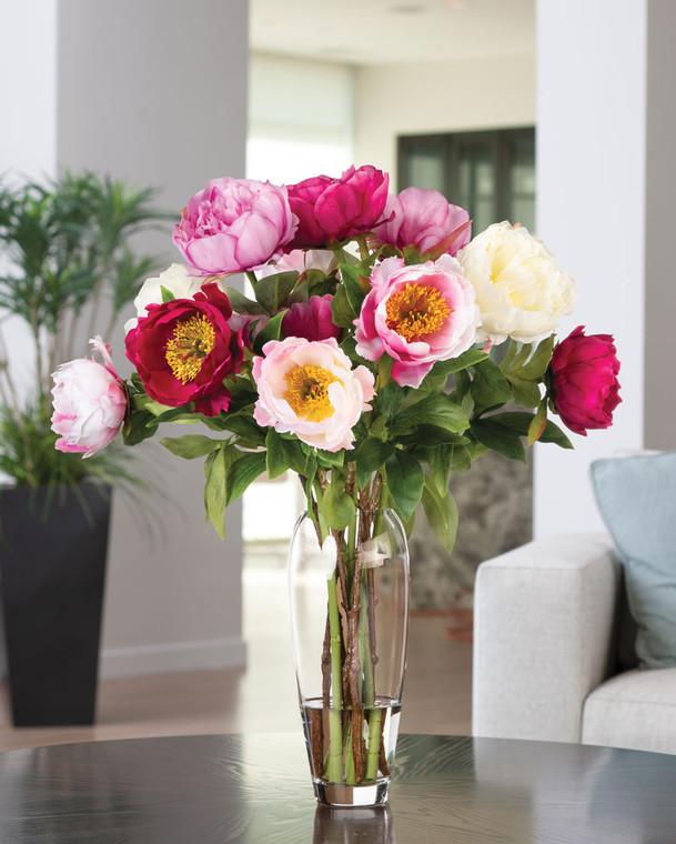 Garden Peonies Faux Flower Arrangement