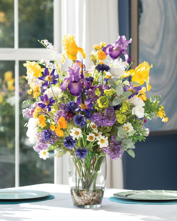 Mixed Iris Profusion<br>Faux Flower Arrangement