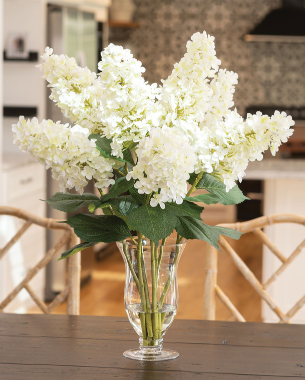 White Hydrangea Harmony Faux Flower Arrangement