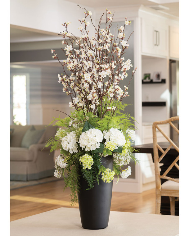Hydrangea & Cherry Blossom Splendor<br>Faux Flower Arrangement