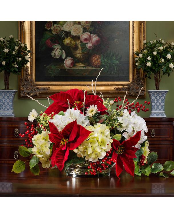 Poinsettia and hydrangea silk flower holiday centerpiece