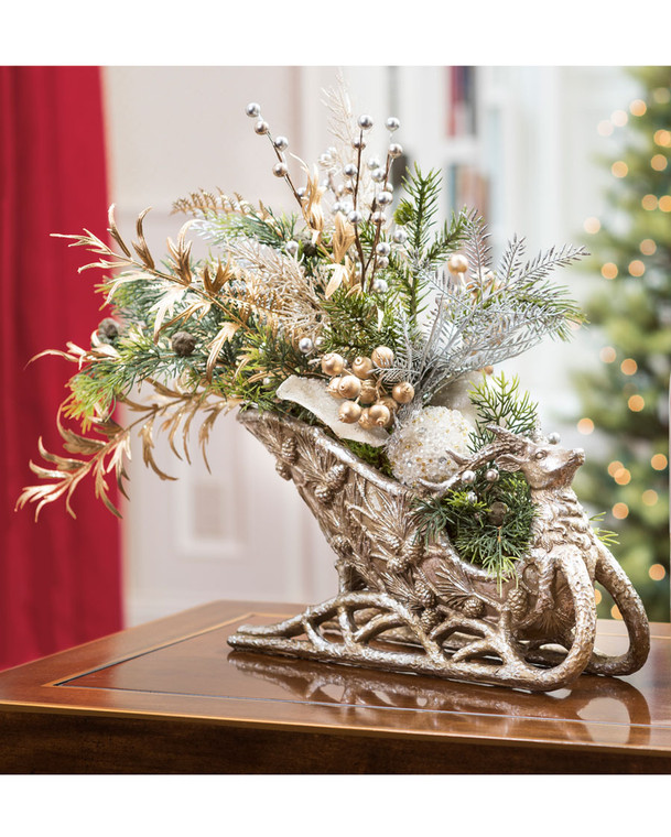 Pearl & Gold Elegance Holiday Sleigh Centerpiece