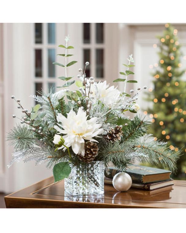 Frozen Holiday Silk Flower Centerpiece