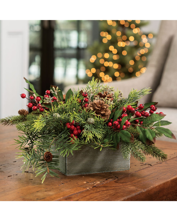 Pine & Berry<br>Artificial Holiday Centerpiece