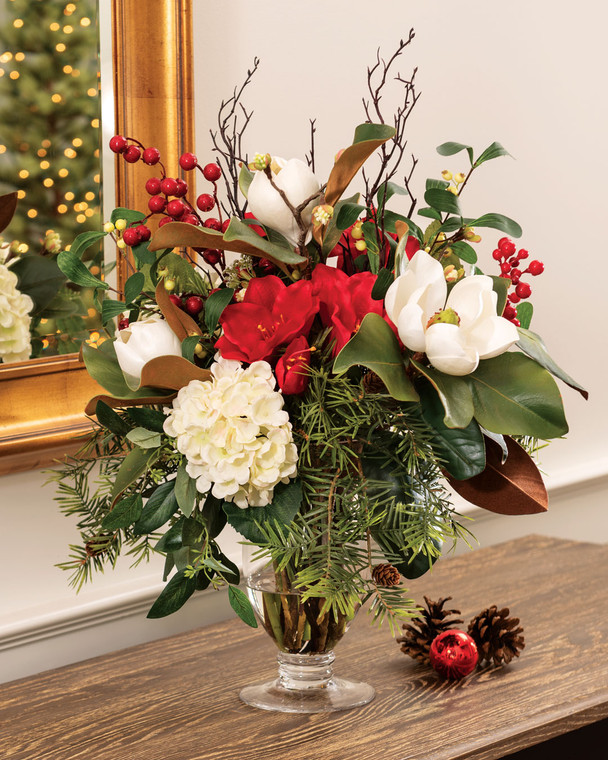 Magnolia, Amaryllis & Berries<br>Artificial Holiday Centerpiece