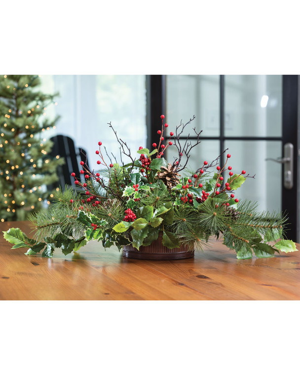 Holly & Pine<br>Artificial Holiday Centerpiece