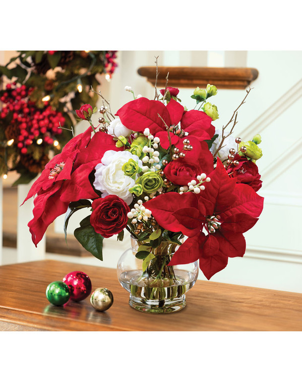 Poinsettia & Ranunculus Silk Christmas Arrangement