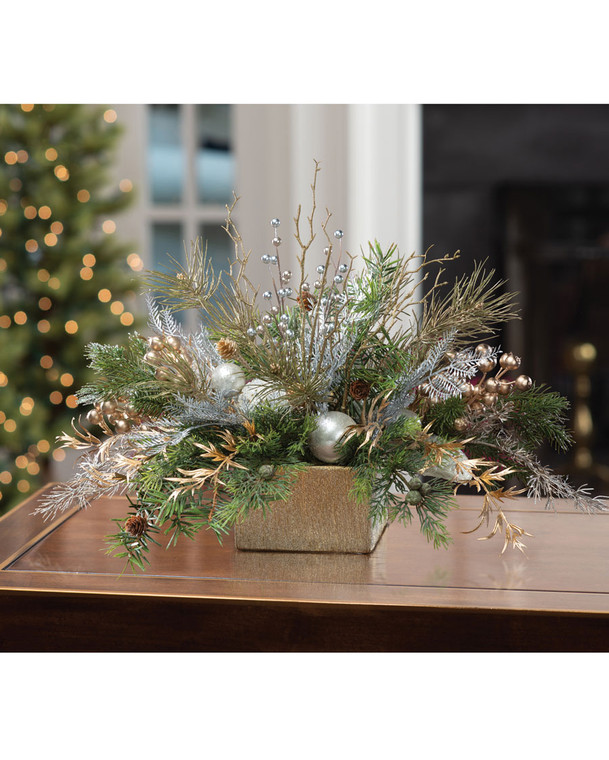 Pearl & Gold Elegance Artificial Holiday Centerpiece