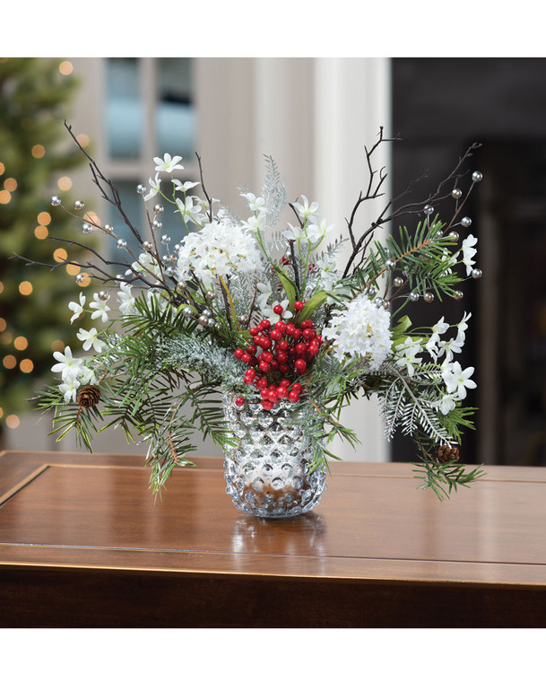 Hydrangea, Berries & Iced Pine Artificial Holiday Arrangement