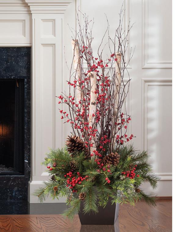 Pine, Berries & Birch Logs<br>Artificial Focal Arrangement