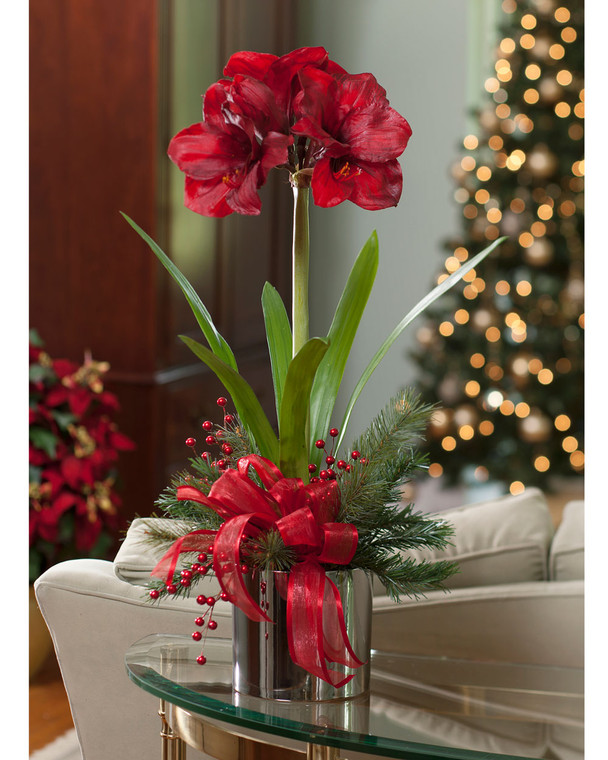 """Handcrafted premium red amaryllis silk flower in a 6"""" silver glazed ceramic cache pot with mixed pine candy apple red berries and satin bow"""