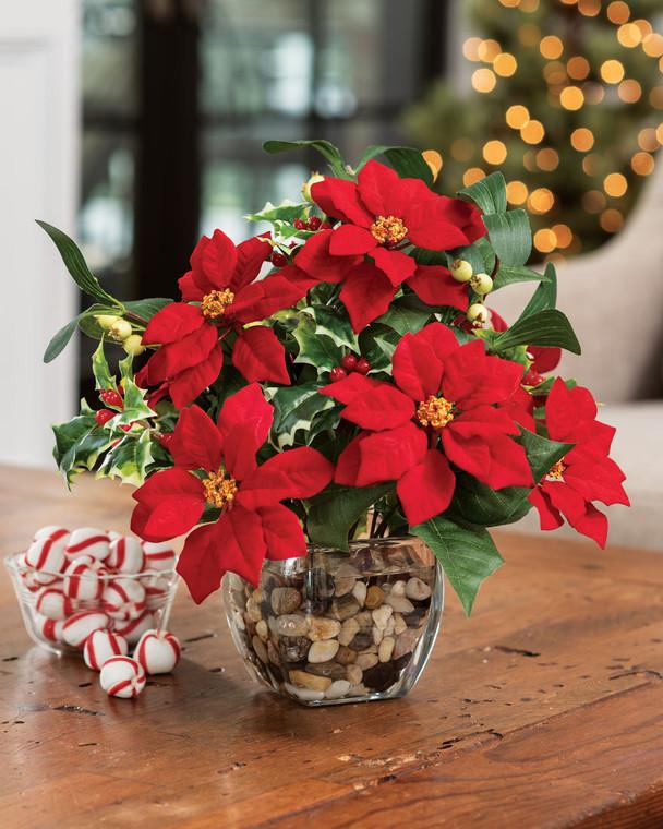 Poinsettia & Holly<br>Silk Holiday Arrangement