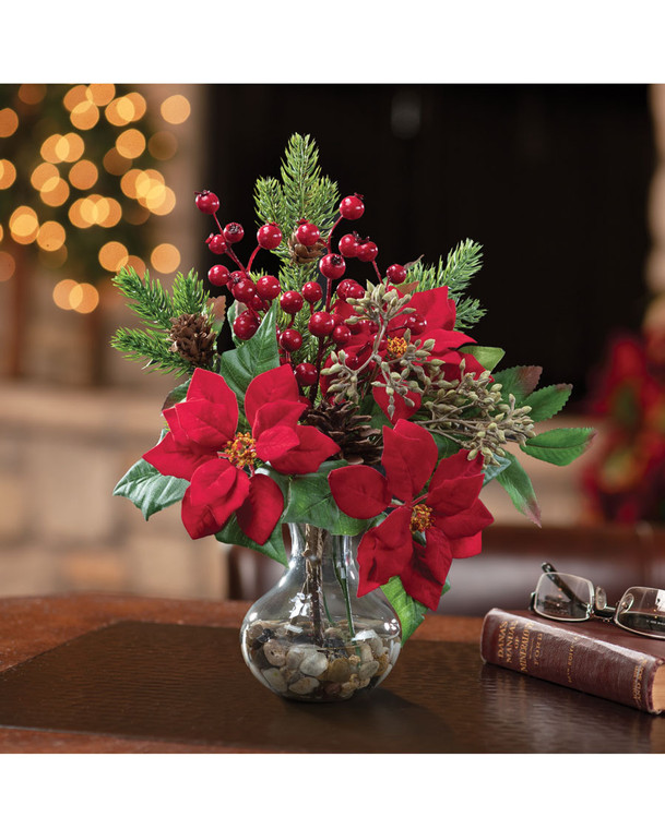 Poinsettia, Pine & Berry<br>Silk Christmas Accent