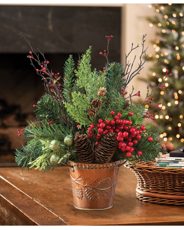 Copper, Cones & Berries<br>Artificial Holiday Accent