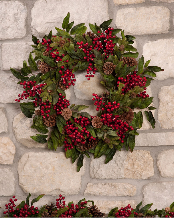 """Traditional decorative holiday 24"""" diameter wreath designed with pine and winter greenery mixed with cones and shiny red berries"""