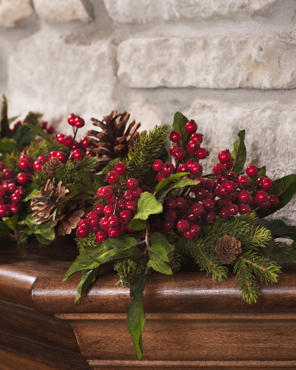 Pine & Berry Silk Garland 5' Long Traditional Holiday Foliage with shiny red berries in pine