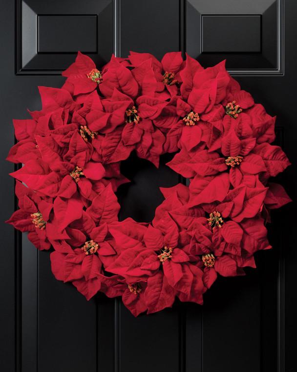Holiday Poinsettia<br>Silk Wreath
