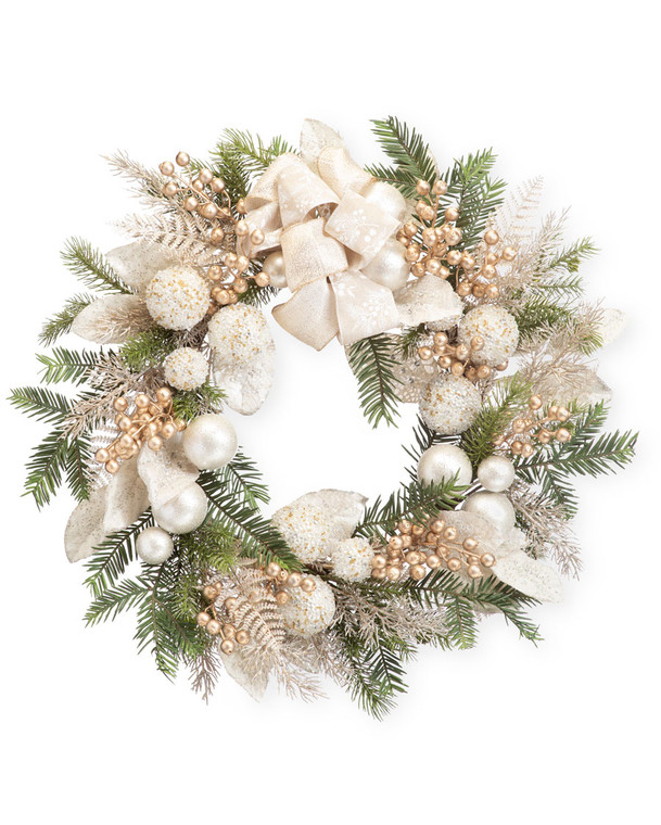 """Pearl & Gold Elegance<br>30"""" Artificial Holiday Wreath"""