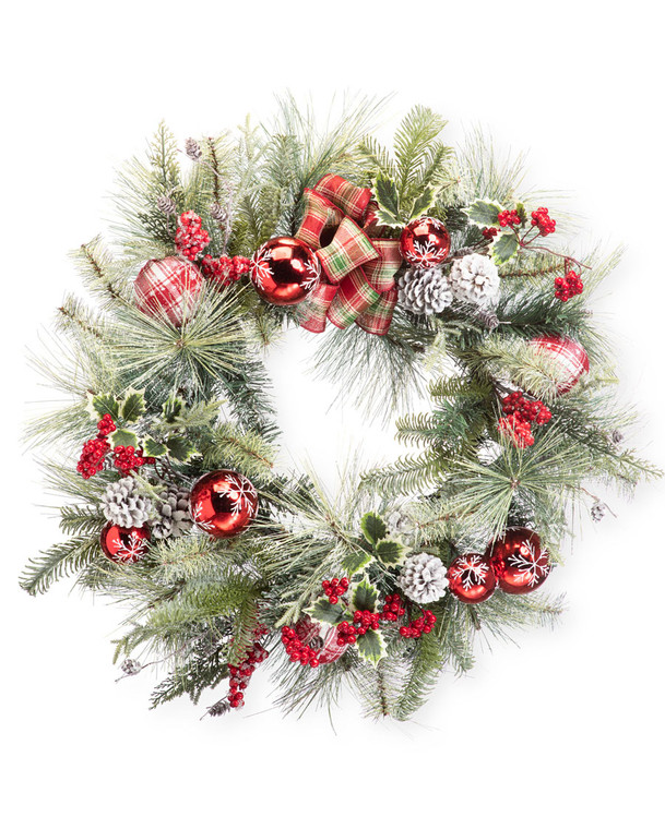 "Snowflake Plaid<br>24"" Artificial Christmas Wreath"