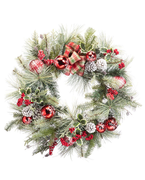 "Snowflake Plaid<br>30"" Artificial Christmas Wreath"
