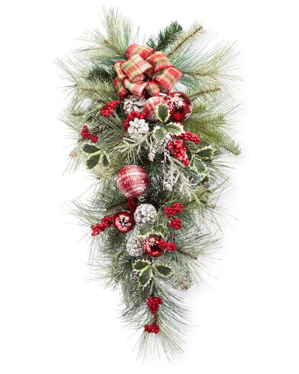 Snowflake Plaid Artificial Christmas Teardrop