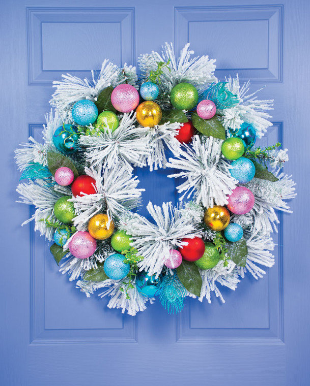 """Colorful Snowy Christmas 28"""" Artificial Holiday Wreath"""