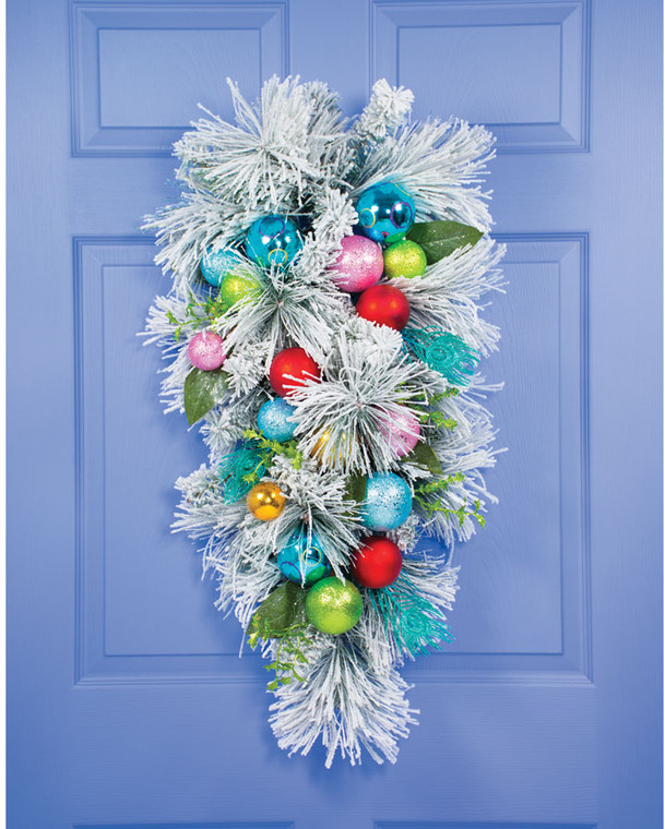 Colorful Snowy Christmas Artificial Holiday Teardrop