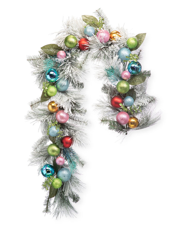 Colorful Snowy Christmas Artificial Holiday Garland