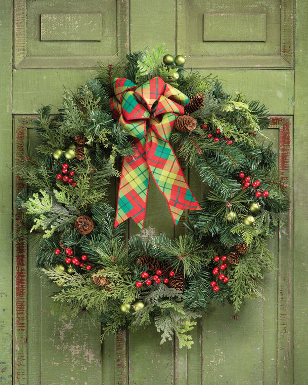 """Forevergreens & Berries 30"""" Artificial Holiday Wreath"""