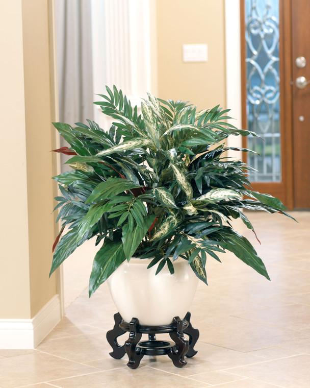 Naturally Unique, Aspidistra & Chinese Evergreen Silk Plant, Lush & Vibrant mix of green, burgundy and cream dense foliage