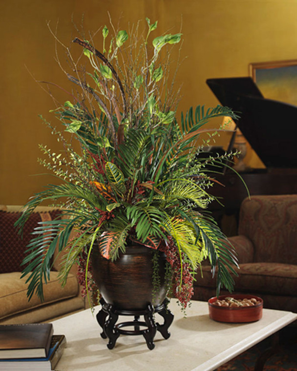 silk cycas & croton silk planter with palm and birch branches and cascading pepper berry