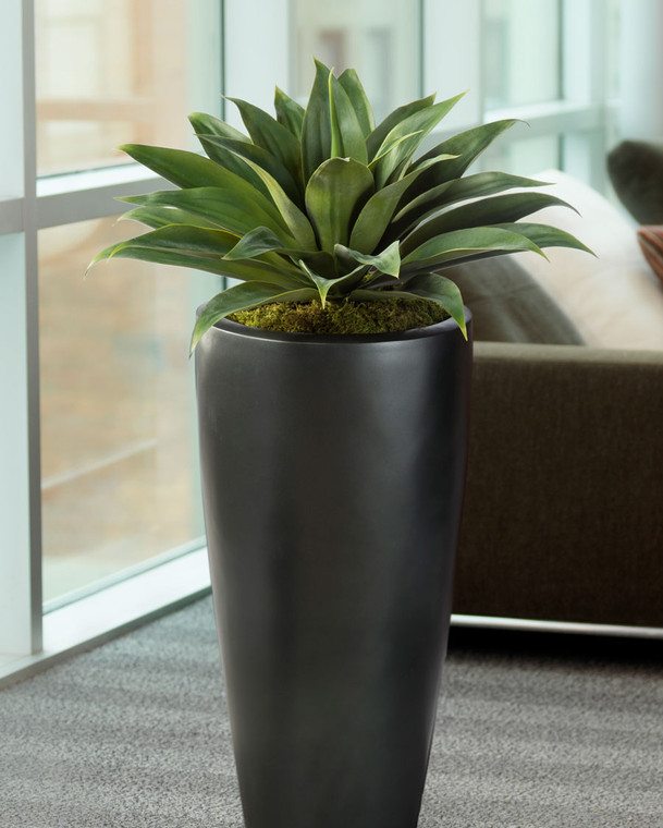 Lifelike, broad leaf agave artificial succulent plant complements any interior decor